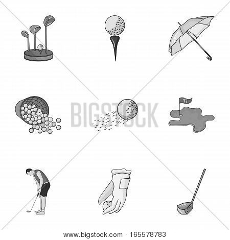 Golf club set icons in monochrome design. Big collection of golf club vector symbol stock illustration