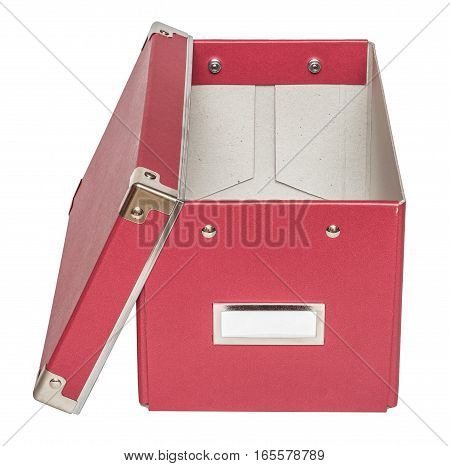 Open red cardboard box with metal findings. Isolated on the white background top-front view no shadow.