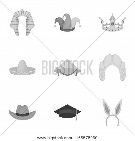 Hats set icons in monochrome style. Big collection of hats vector symbol stock