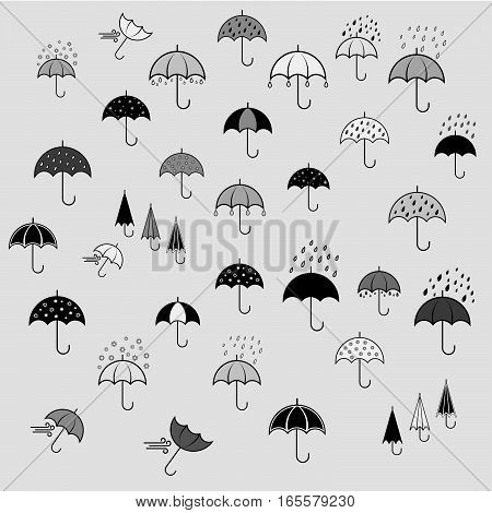Icons set with umbrellas in different color. Background
