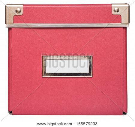 Closed red cardboard box with metal findings. Isolated on the white background front view no shadow.