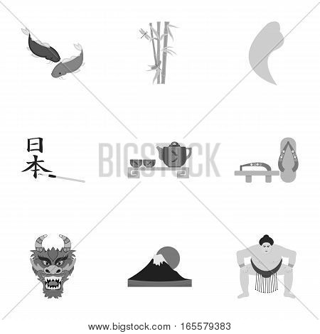 Japan set icons in monochrome style. Big collection of Japan vector symbol stock