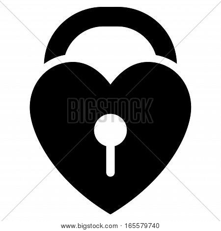 Love Heart Lock vector icon. Flat black symbol. Pictogram is isolated on a white background. Designed for web and software interfaces.