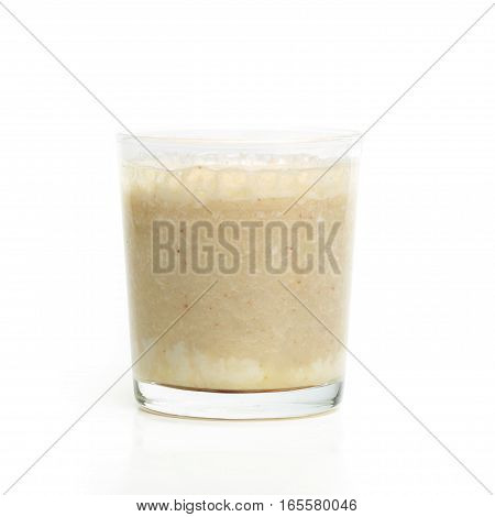 Glass With Banana Smoothie Isolated On White Background