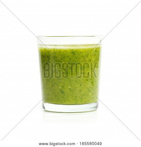 Glass With Spinach, Herbs, Mint, Kiwi And Banana Smoothie Isolated On White Background