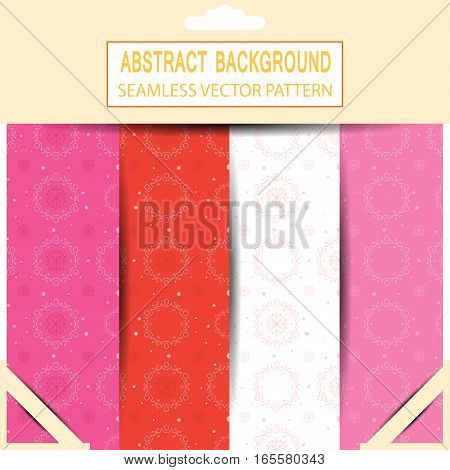 Vector set of seamless abstract white and red pattern in the package with pattern unit and shadow.