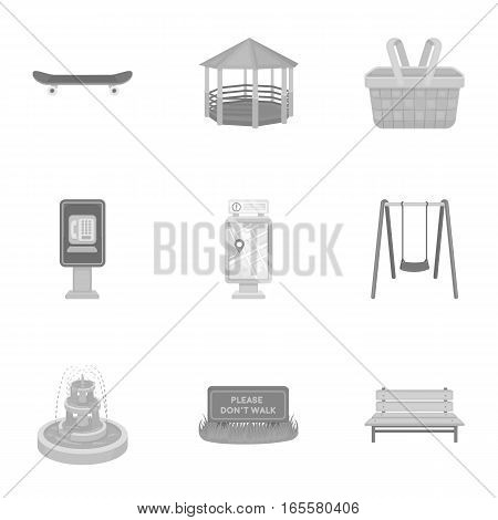 Park set icons in monochrome style. Big collection of park vector symbol stock