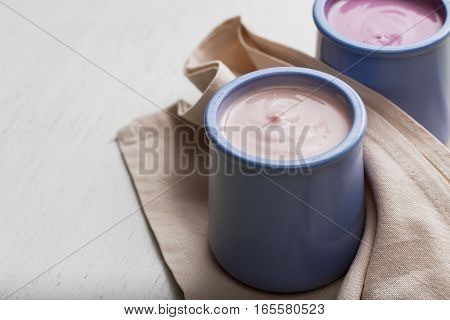 Yogurts Assortment  In Ceramic Bowls On Wooden Ligth Background. Natural And Fruit  Healthy, Diet, G