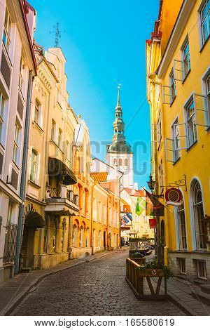 Tallinn, Estonia. View Of Narrow Street In Sunny Summer Day Under Blue Sky. Old Architecture And Different Cafes And Restaurants In Popular Touristic Route.