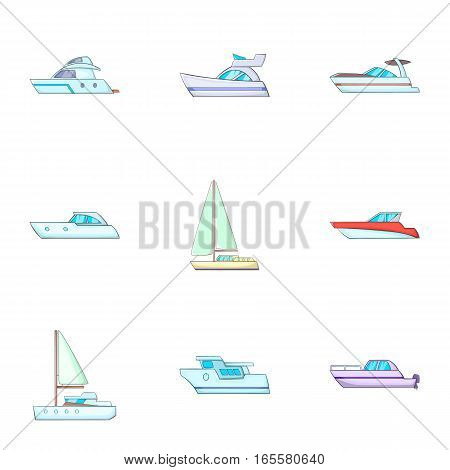 Ship transportation icons set. Cartoon illustration of 9 ship transportation vector icons for web