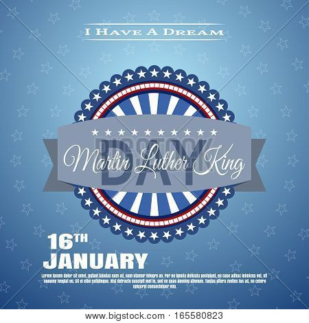 Vector holiday background of Martin Luther King Day with label.