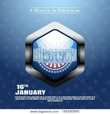 Vector holiday background of Martin Luther King Day with glass blue label in the metal frame.