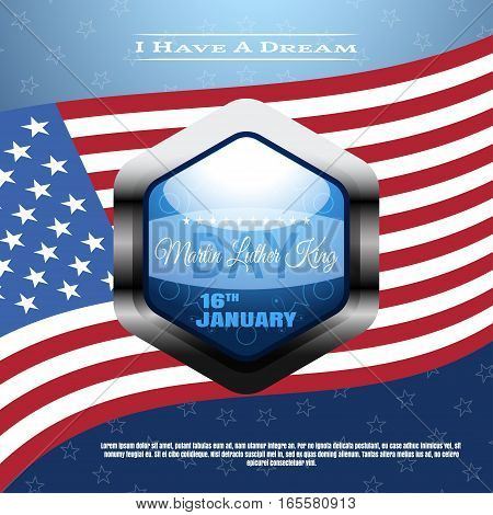 Vector holiday background of Martin Luther King Day with waving flag label text.