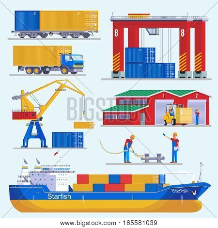 Sea port elements collection with ship construction crane trucks loading platform warehouse and workers isolated vector illustration