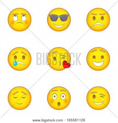 Emoticon icons set. Cartoon illustration of 9 emoticon vector icons for web