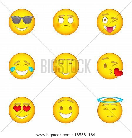 Smiley icons set. Cartoon illustration of 9 smiley vector icons for web