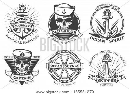 Old tattoo anchor set with ocean journey nautical heritage anchors aweigh ocean spirit descriptions vector illustration
