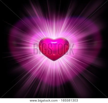 Pink three-dimensional heart with rays on black background for Valentine Day