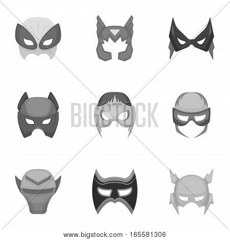 Superhero mask set icons in monochrome style. Big collection of superhero mask vector symbol stock