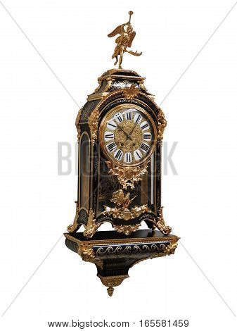Antique French Gilt Bronze Boulle Clock On White Background