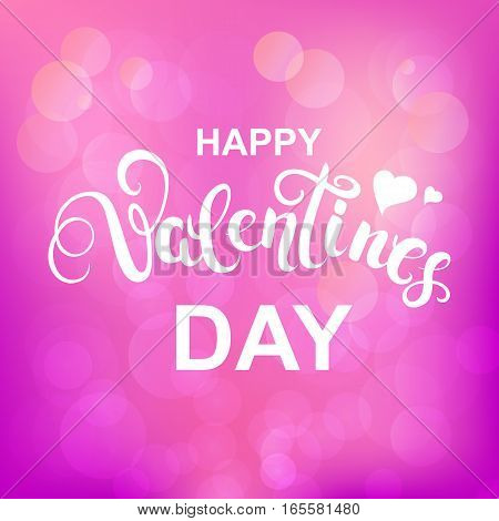 Happy Valentines day callygraphy on pink background. Text for greeting card with white font. Vector Illustration.