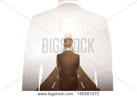 Thoughtful young businessman in front open door with opportunities. Success concept. Double exposure