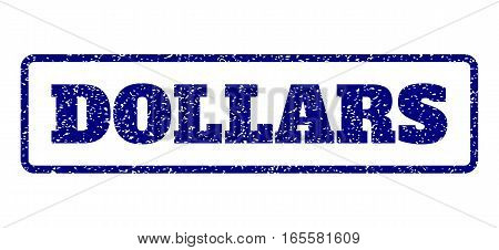Navy Blue rubber seal stamp with Dollars text. Vector message inside rounded rectangular banner. Grunge design and scratched texture for watermark labels. Horisontal emblem on a white background.