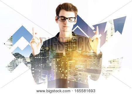 businessman crossed fingers for good luck. Mock up. Double exposure