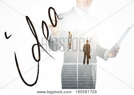 Abstract image of thoughtful businesspeople standing on concrete stairs with bright light. Business idea concept. Double exposure