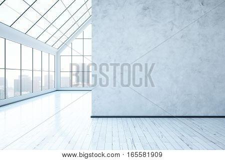 Bright concrete interior with blank wall city view and daylight. Mock up 3D Rendering