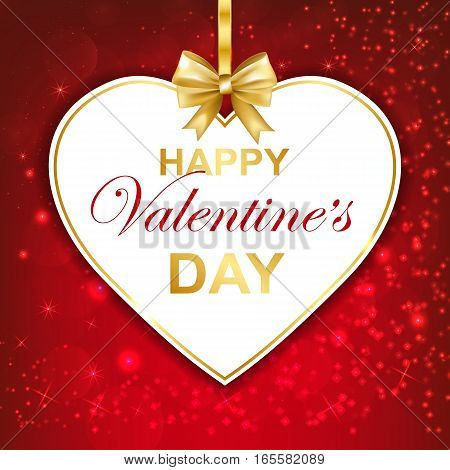 Happy Valentines day greeting card with callygraphy on red sparkles background. Paper heart frame with gold bow. Vector Illustration.