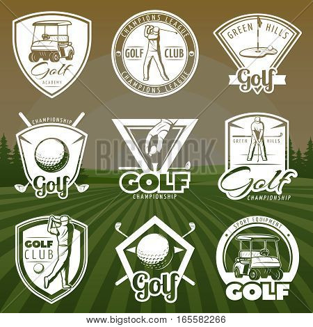 Vintage golf club logos with cart player and ball on green lawn background isolated vector illustration
