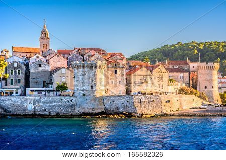 Seafront view at Korcula old town, historic island and travel european destination in Croatia.
