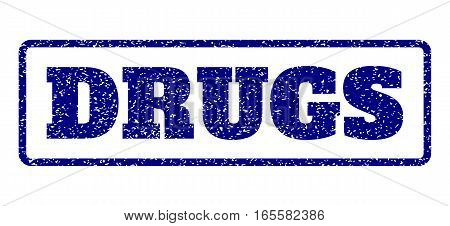 Navy Blue rubber seal stamp with Drugs text. Vector caption inside rounded rectangular banner. Grunge design and scratched texture for watermark labels. Horisontal sign on a white background.