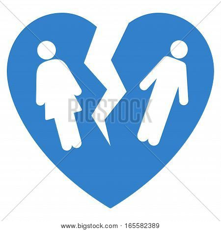 Broken Family Heart vector icon. Flat cobalt symbol. Pictogram is isolated on a white background. Designed for web and software interfaces.