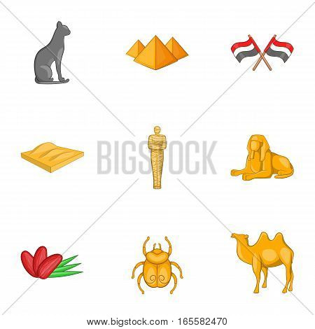 Ancient Egyptian symbol icons set. Cartoon illustration of 9 ancient Egyptian symbol vector icons for web