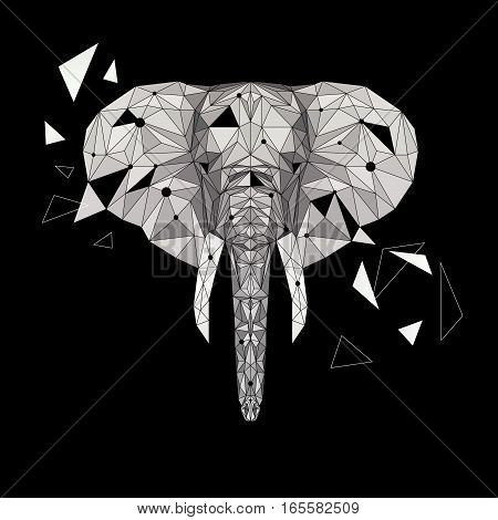 Vector elephant puzzle. Stylized elephant low poly design. Animal illustration for use as a print on t-shirt, tattoo and poster.