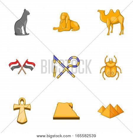 Travel to Egypt icons set. Cartoon illustration of 9 travel to Egypt vector icons for web