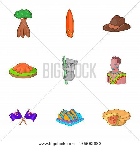 Australia tourists attractions icons set. Cartoon illustration of 9 Australia tourists attractions vector icons for web