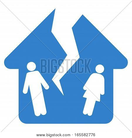 Divorce House vector icon. Flat cobalt symbol. Pictogram is isolated on a white background. Designed for web and software interfaces.