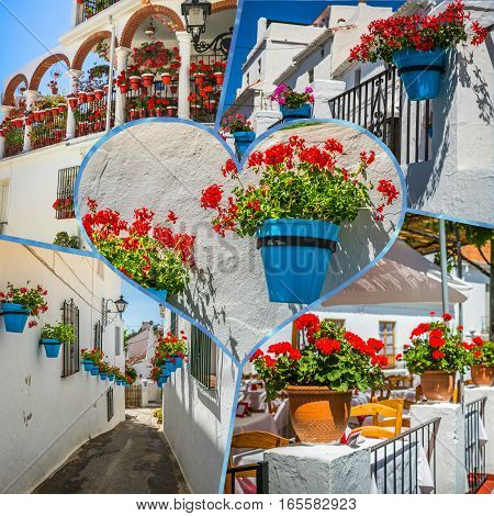Collage of Mijas street. Charming white village in Andalusia