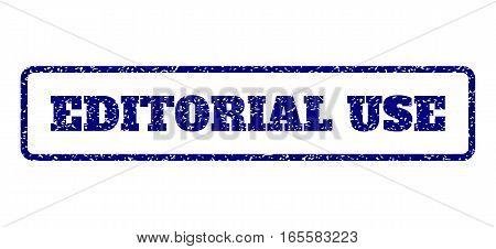 Navy Blue rubber seal stamp with Editorial Use text. Vector message inside rounded rectangular frame. Grunge design and dust texture for watermark labels. Horisontal emblem on a white background.