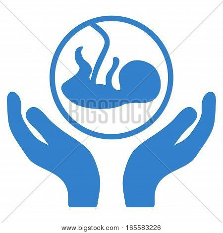 Embryo Care Hands vector icon. Flat cobalt symbol. Pictogram is isolated on a white background. Designed for web and software interfaces.