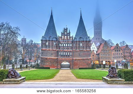 The Holstein Gate In Lubeck. Germany