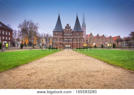The Holstein Gate in Lubeck. Germany. Historic place