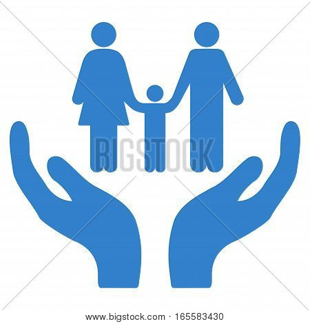 Family Care Hands vector icon. Flat cobalt symbol. Pictogram is isolated on a white background. Designed for web and software interfaces.