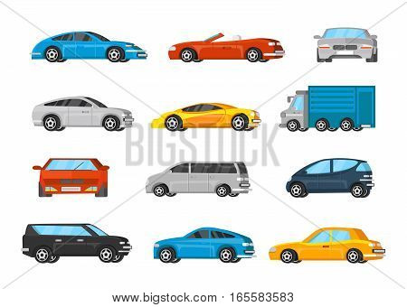 Colorful vehicles collection with sedan minivan coupe cabriolet crossover cars and truck isolated vector illustration