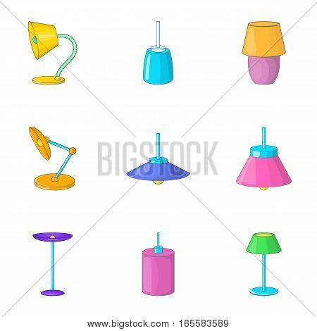 Lamp light icons set. Cartoon illustration of 9 lamp light vector icons for web