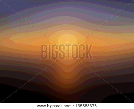 Abstract sunset from layered lights and shades of rainbow colors
