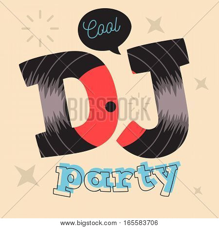 DJ Party Poster Design With Vinyl Record Illustration.  Vector Graphic.